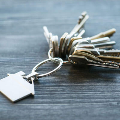 Keys on a silver house keyring